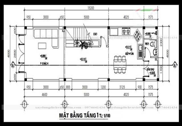 mẫu nhà ống 2 tầng