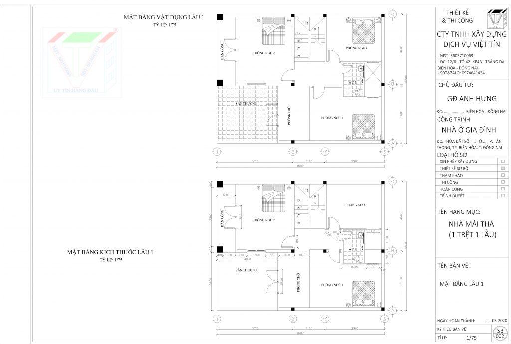 Thiết kế nhà 1 trệt 1 lầu mái thái