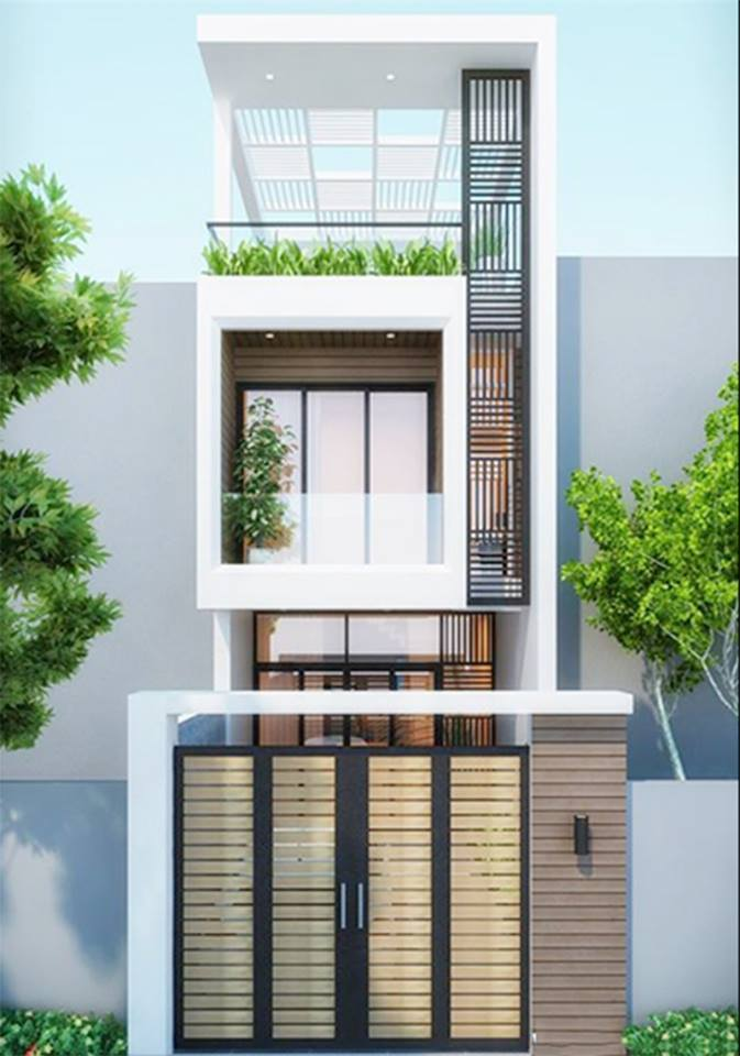 M1:  Nhà ống 2 tầngkiểu dáng hiện đại, sang trọng với tông màu trắng chủ đạo mang đến không gian sống thanh lịch, thoáng mát.